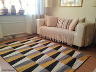 Roskilde grå/gul 140 x 200 blå och rost