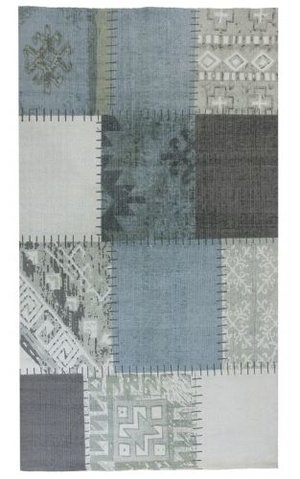 Svanefors 140 x 200 patchwork blå/grå
